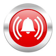 alarm red circle chrome web icon isolated
