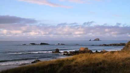 Wellen am Strand mit Felsen im Wasser