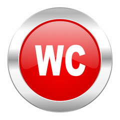 toilet red circle chrome web icon isolated