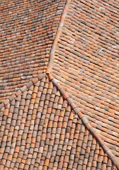 Old roof with colorful ceramic tiles