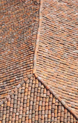 Old roof with colorful ceramic