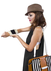 cellphone taped into womans wrist as a DIY smart watch
