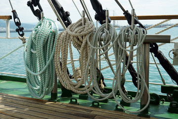ship rope on a sea sailing vessel