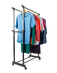 Mobile rack with clothes on white background.