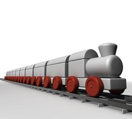 Speelgoed trein onderweg op rails