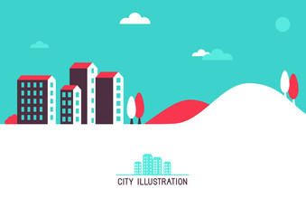 Vector flat illustration with bright houses