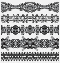 grey collection of seamless ornamental floral stripes, black and