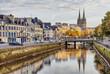 Leinwanddruck Bild - Embankment of river Odet in Quimper, France
