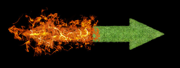 green grass arrow, Flaming rising arrow
