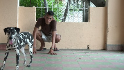 Quality time between owner and dalmatian pet