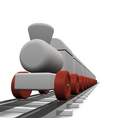 Close up van rijdende speelgoed trein