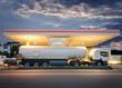 Leinwanddruck Bild - Tanklaster Tankwagen an Tankstelle – Tank Truck at Gas Station