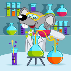 mouse scientist - vector  illustration, eps