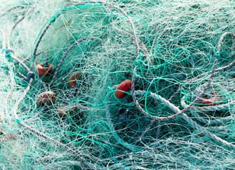 Tangled green fishing nets