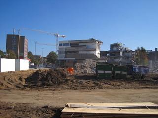 Großbaustelle, ein Kaufhausgebäude wird abgerissen