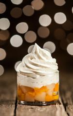 Frozen Yogurt Above Mango Slices on Glass Bowl