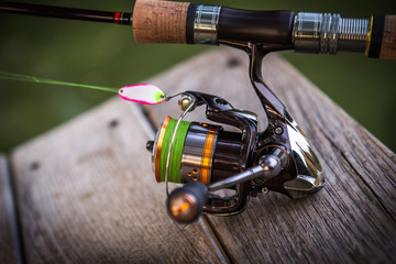 Fishing reel, blurred background