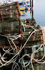 Many octopus traps stacked