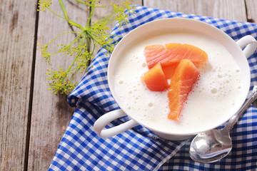 Gourmet fresh salmon chowder soup