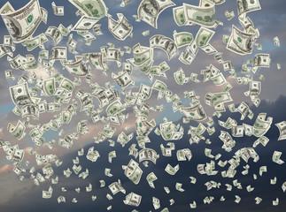 Cash, paper dollars, falling