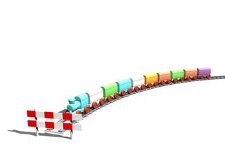 Eindpunt bereikt - bestemming van speelgoed trein