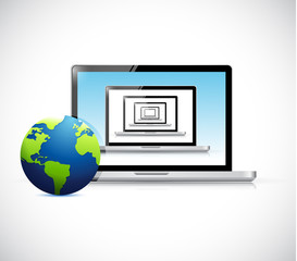 laptops set and globe. illustration design