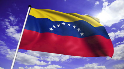 flag of Venezuela with fabric structure against a cloudy sky