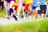 Fototapety Unidentified marathon racers running
