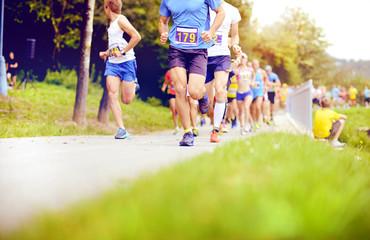 Unidentified marathon racers running