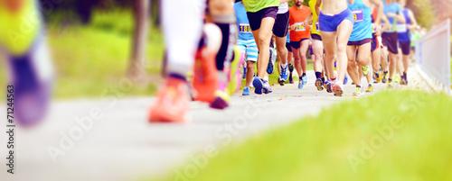 canvas print picture Unidentified marathon racers running