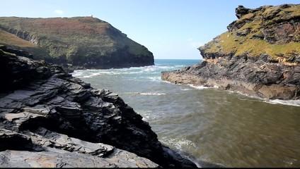 Boscastle coast leading to harbour North Cornwall England UK