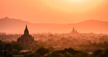 Sunset from one of the temples of Bagan, Myanmar