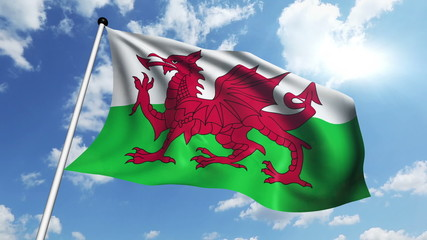 flag of Wales with fabric structure against a cloudy sky