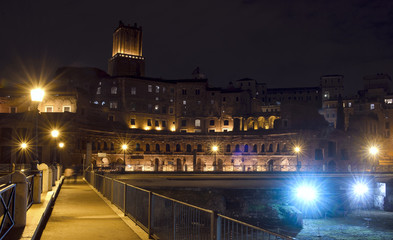 Trajan's Forum in Rome by night
