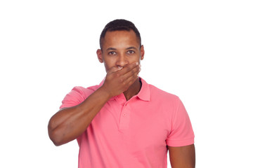 Latin casual men covering his mouth