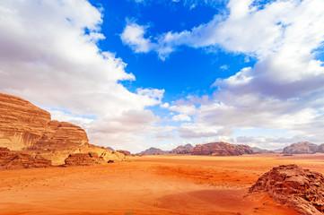 View of Jordanian desert in Wadi Rum, Jordan