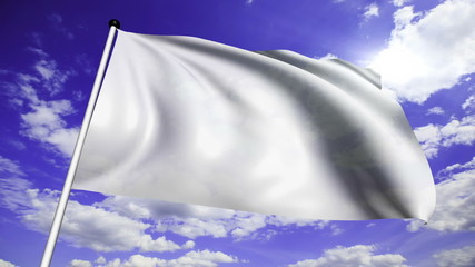 white flag with fabric structure against a cloudy sky