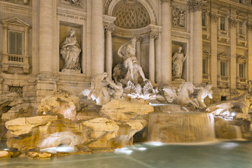 Trevi fountain in Rome by night