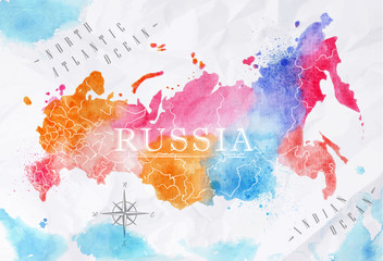 Watercolor map Russia pink blue © anna42f