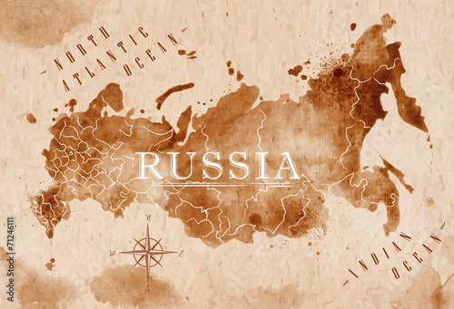 Map Russia retro Poster