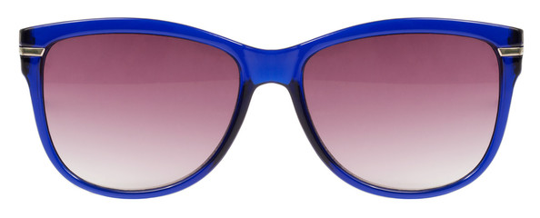 Sunglasses blue frame red lens isolated white background nobody