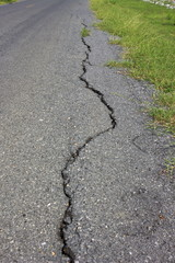 road asphalt damage crack grass green growing