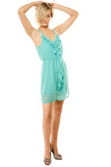 Summer fashion. Pretty fashionable girl in green dress