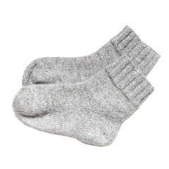 Gray woolen socks isolated on white background