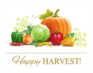 Harvest time vegetable composition on white. Vector
