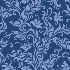 Seamless blue floral pattern. Vector illustration.