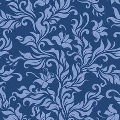 Seamless blue floral pattern. Vector illustration.