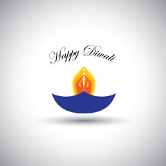diwali or deepawali lamp with namaste as fire - vector graphic i
