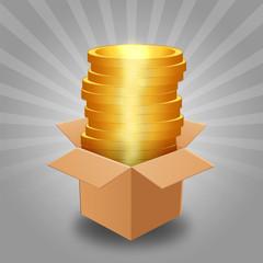 Pila di monete nella scatola