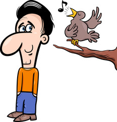 man and bird cartoon illustration